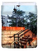Bicycle By Train Station Duvet Cover
