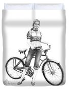 Bicycle Girl Duvet Cover