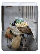 Bicycle Loaded With Food, Delhi, India Duvet Cover