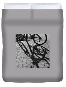 Bicycle Shadows In Black And White Duvet Cover