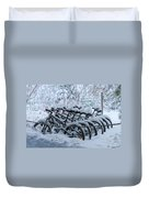 Bicycles In The Snow Duvet Cover