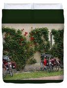 Bicycles Parked By The Wall Duvet Cover