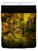 Bicyclist On The Move No. Ol4 Duvet Cover