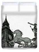 Big Ben And Boudica Charcoal Sketch Effect Image Duvet Cover