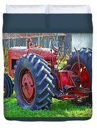 Big Red Rubber Tire Tractor Duvet Cover