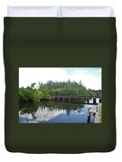 Big Sky And Docks On The River Duvet Cover