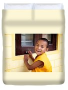 Big Smile At The Window Duvet Cover