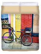 Bike Leaning On The Colorful City Walls Of Asheville  Duvet Cover