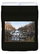 Bikes On The Canal In Amsterdam Duvet Cover