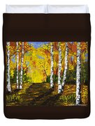 Birch Trees And Road Fall Painting Duvet Cover