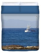 Birds Flying Over A Commercial Fishing Duvet Cover