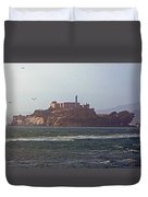 Birds In Free Flight At Alcatraz Duvet Cover