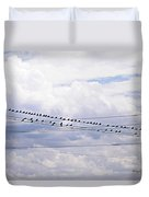 Birds On A Wire Pushed Duvet Cover