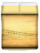 Birds On A Wire Yellow Orange Duvet Cover