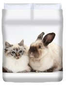 Birman Cat And Colorpoint Rabbit Duvet Cover