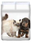Birman Cat And Dachshund Puppy Duvet Cover