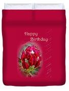 Birthday Card - Red Azalea Buds Duvet Cover