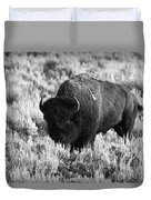 Bison In Black And White Duvet Cover