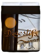 Bistro Sign For Digestives Duvet Cover