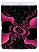 Black And Pink Fractal Butterfly Duvet Cover