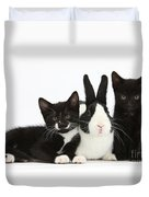 Black And Tuxedo Kittens With Dutch Duvet Cover