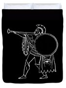 Black And White Ancient Greek Warrior Duvet Cover
