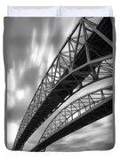 Black And White Blue Water Bridge Duvet Cover