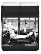 Black And White Gondolas Venice Italy Duvet Cover