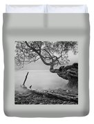 Black And White Mystic Lake Duvet Cover