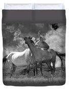 Black And White Photograph Of Montana Horses Duvet Cover