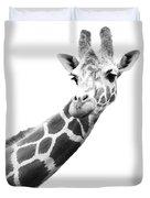 Black And White Portrait Of A Giraffe Duvet Cover