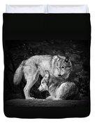 Black And White Wolves Duvet Cover