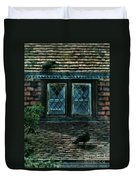 Black Birds Sitting On Roof By Window Duvet Cover
