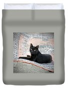 Black Cat On A Persian Rug Duvet Cover