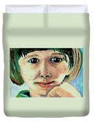 Black Eyed Young Girl Duvet Cover