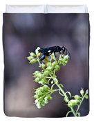 Black Flower Feeding Wasp Duvet Cover