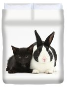 Black Kitten Dutch Rabbit Duvet Cover