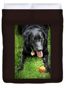 Black Lab Dog With A Ball Duvet Cover by Elena Elisseeva