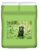 Black Lab Miss You Duvet Cover