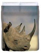 Black Rhinoceros Diceros Bicornis Close Duvet Cover
