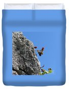 Blackberry On The Rock Top. Square Format Duvet Cover