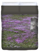 Blank Colonial Tombstone Amidst Graveyard Phlox Duvet Cover by John Stephens