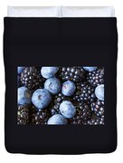Blue And Black Berries Duvet Cover