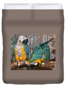 Blue And Gold Macaw Pair Duvet Cover