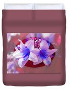Blue And Red Weigela Window Duvet Cover