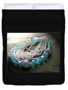 Blue And Silver Bead Bracelet Duvet Cover