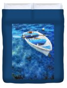 Blue And White. Lonely Boat. Impressionism Duvet Cover