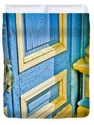 Blue And Yellow Door Duvet Cover