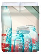 Blue Ball Canning Jars Duvet Cover