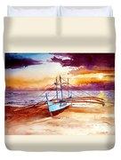 Blue Boat On The Shore Duvet Cover